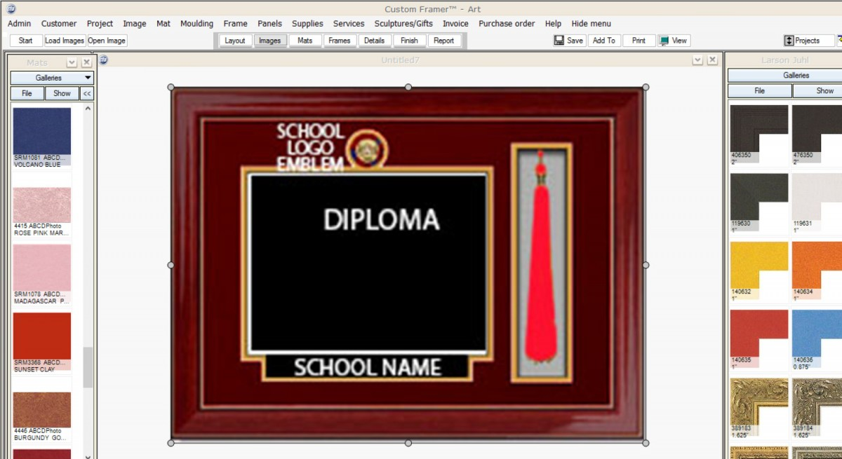 example of an upgraded frame package with tassel logo name and 810 diploma size prices vary based on frame design chosen and sizenumber of elements to - Diploma Tassel Frame