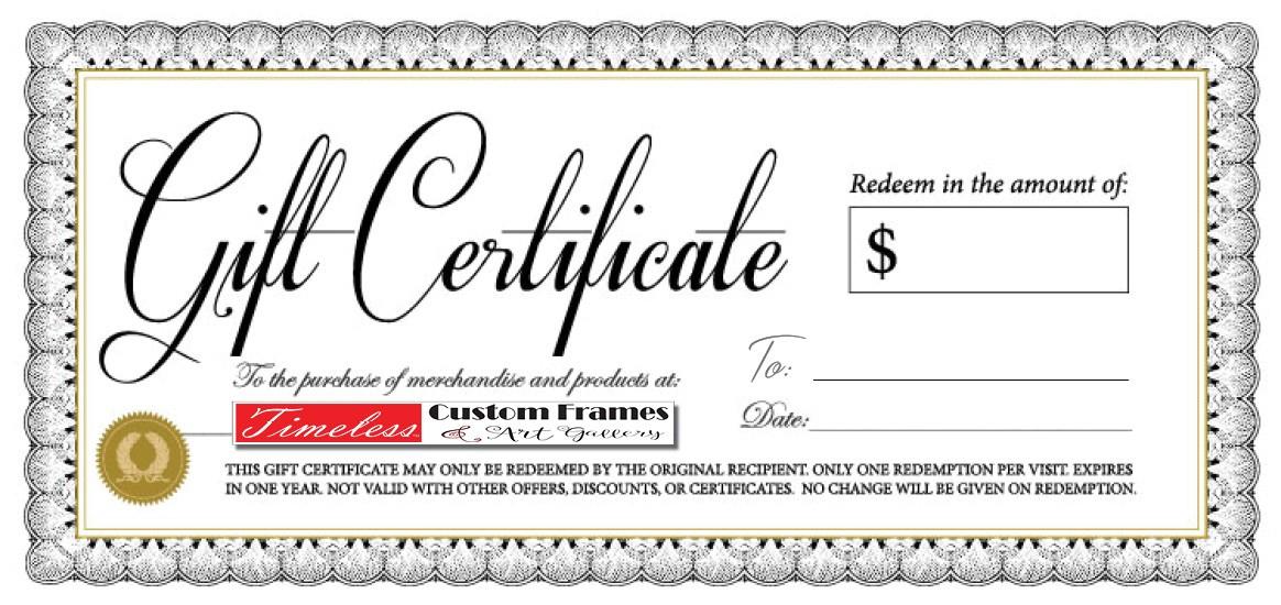 Timeless Framing Gift Certificate Timeless Custom Frames Art Gallery